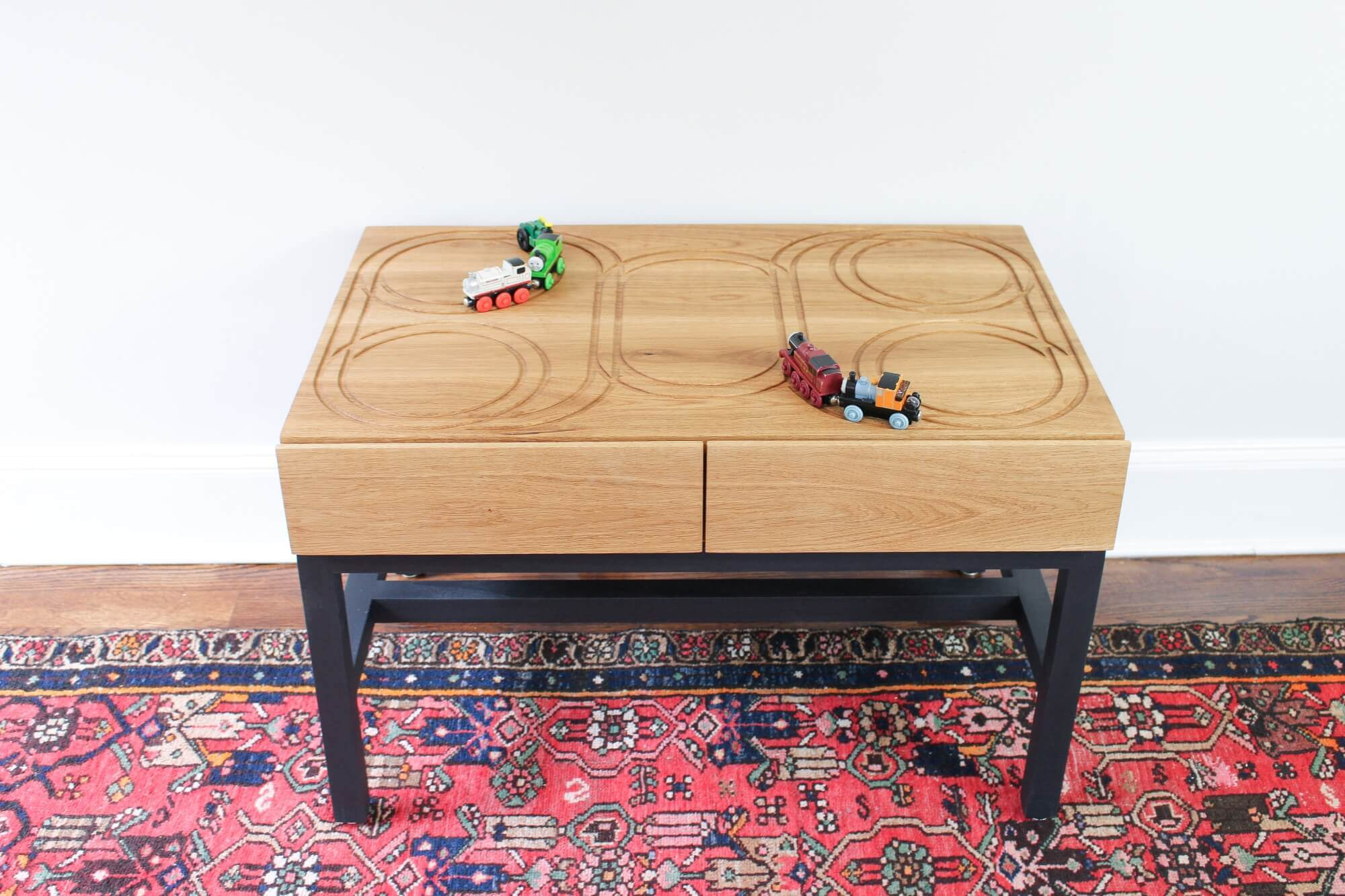 Make your own train table for children with a toy safe wood finish.