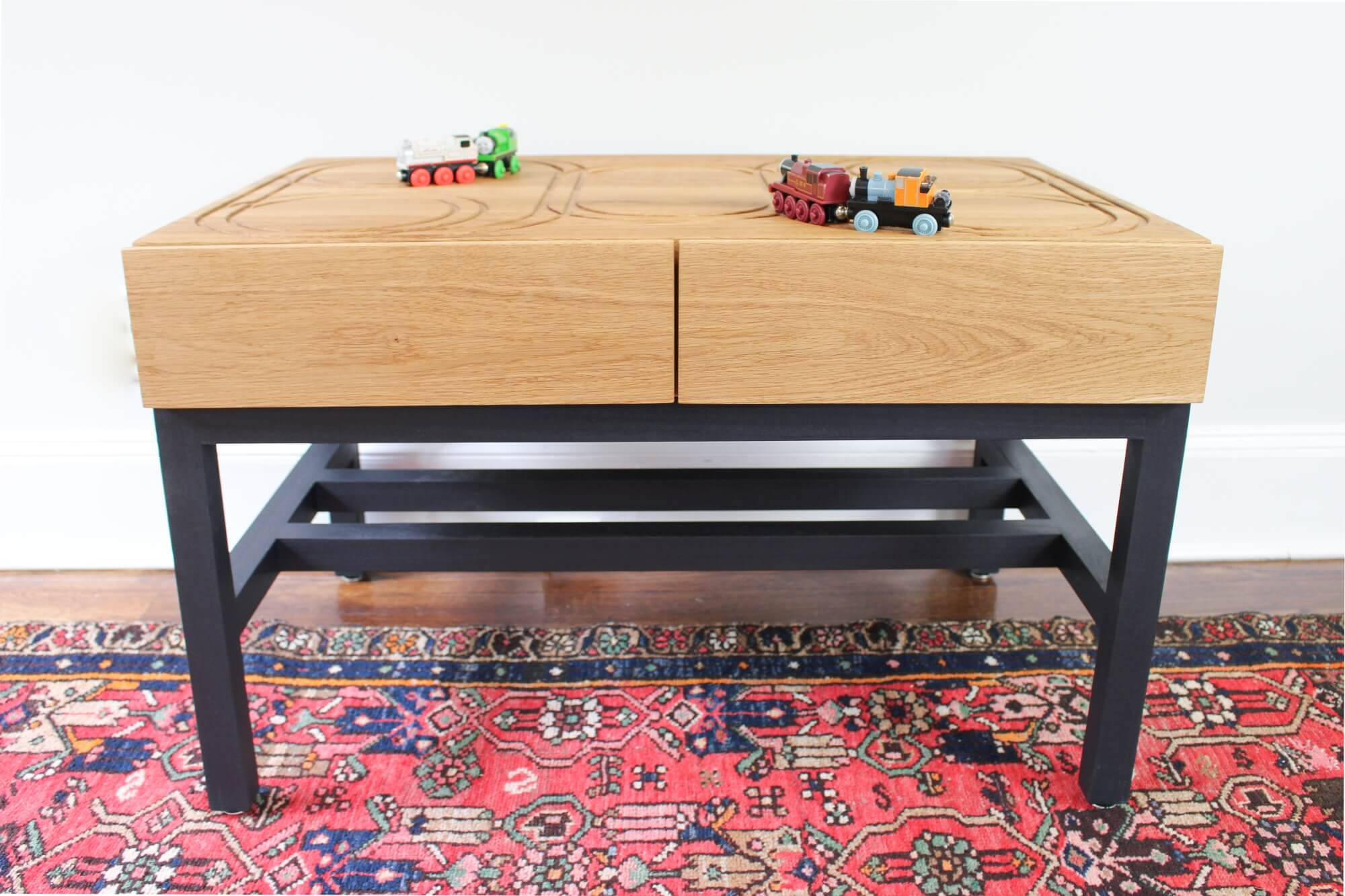 Hardwax oil finished wood train table.