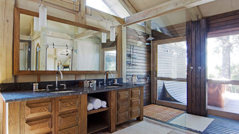 Beautiful bathroom in South Africa boasts wood finished with Rubio Monocoat.