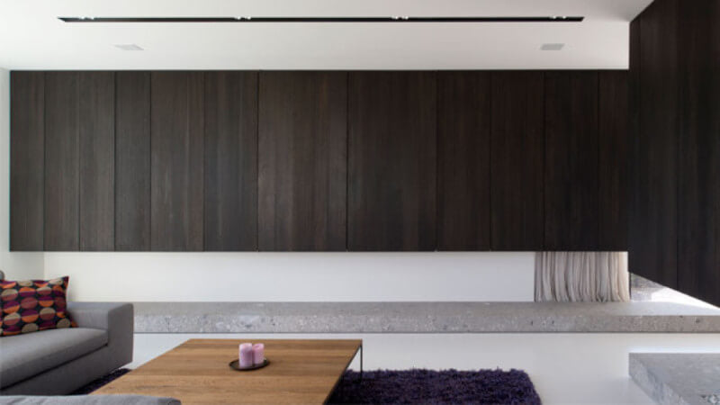 Dark wood modern cabinets in a modern living room.