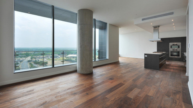 Oak and walnut flooring finished with Rubio Monocoat.