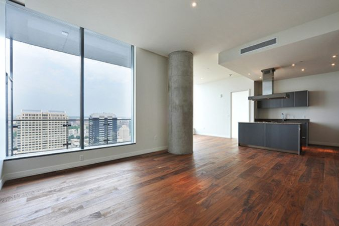 Beautiful views from a hotel room featuring wood floors finished with Rubio Monocoat.