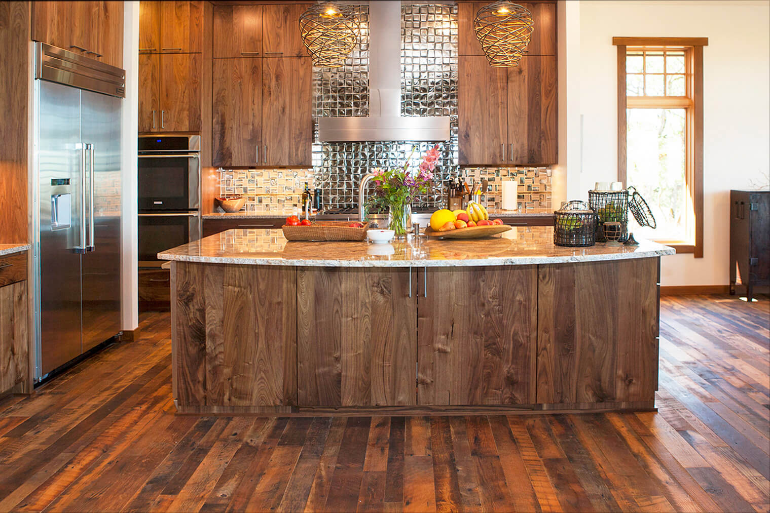 Rustic cabin style wood kitchen.