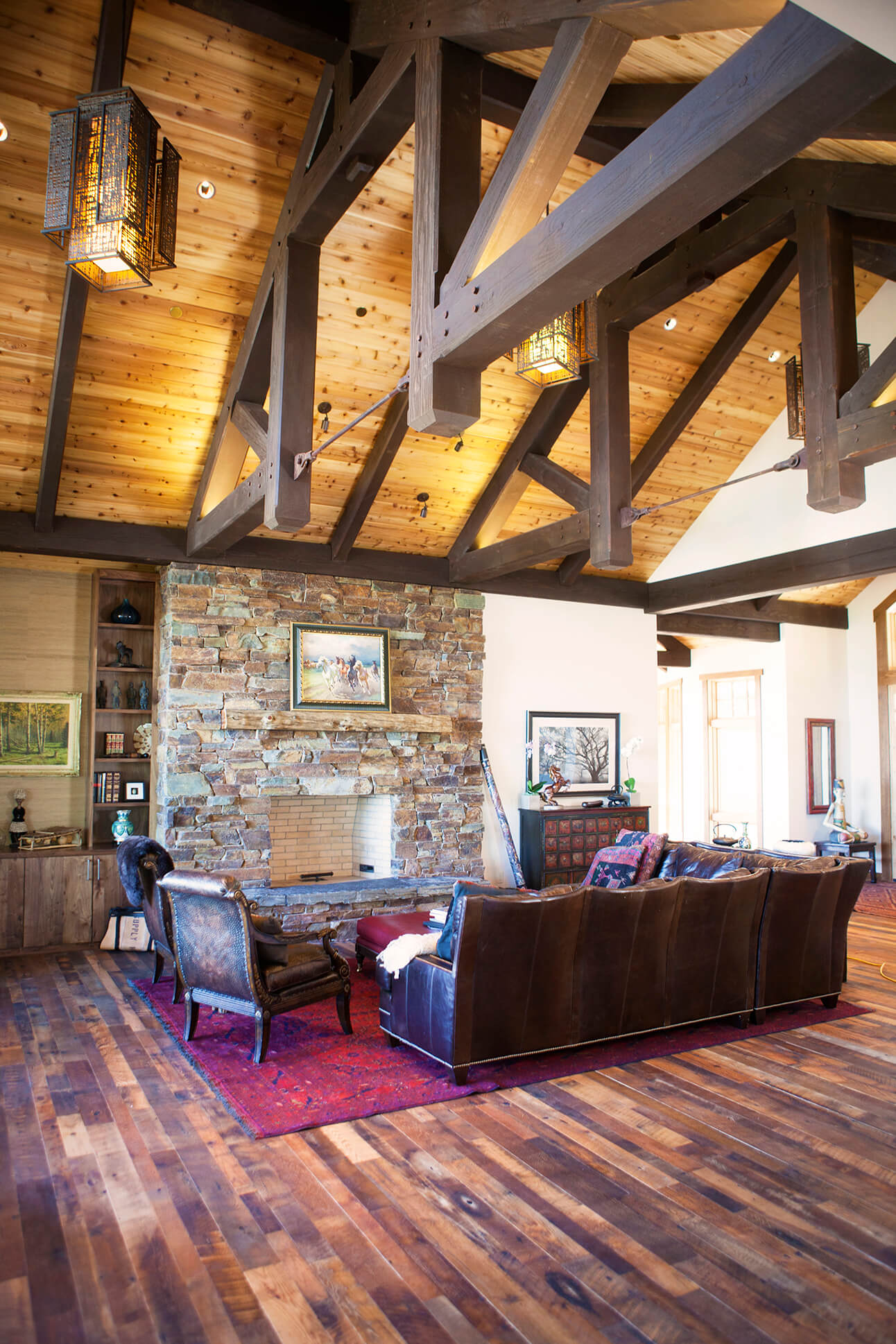 Tall gable ceiling living room with hardwax oil wood finished flooring.
