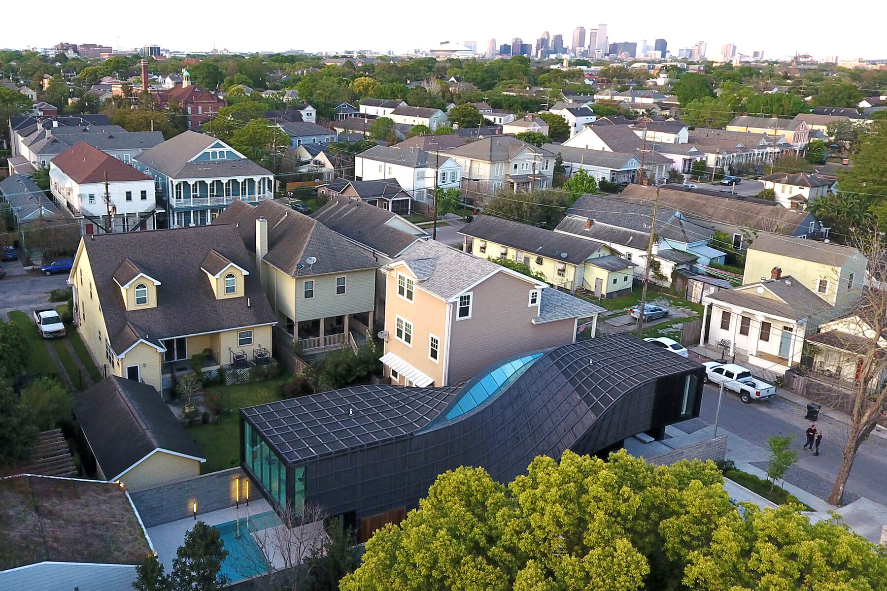 Aerial view of the J-House in New Orleans.