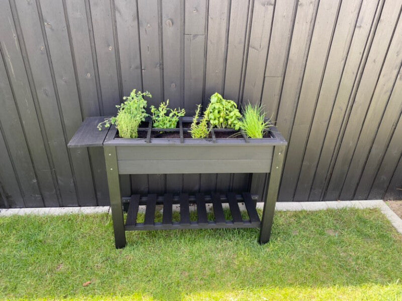 Top view of a wooden herb garden tray
