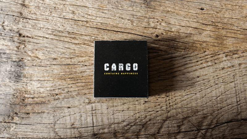 Cargo popup restaurant logo on wood background.