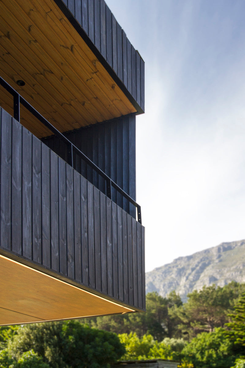Balcony of private home in South Africa features wood finished with Rubio Monocoat products.