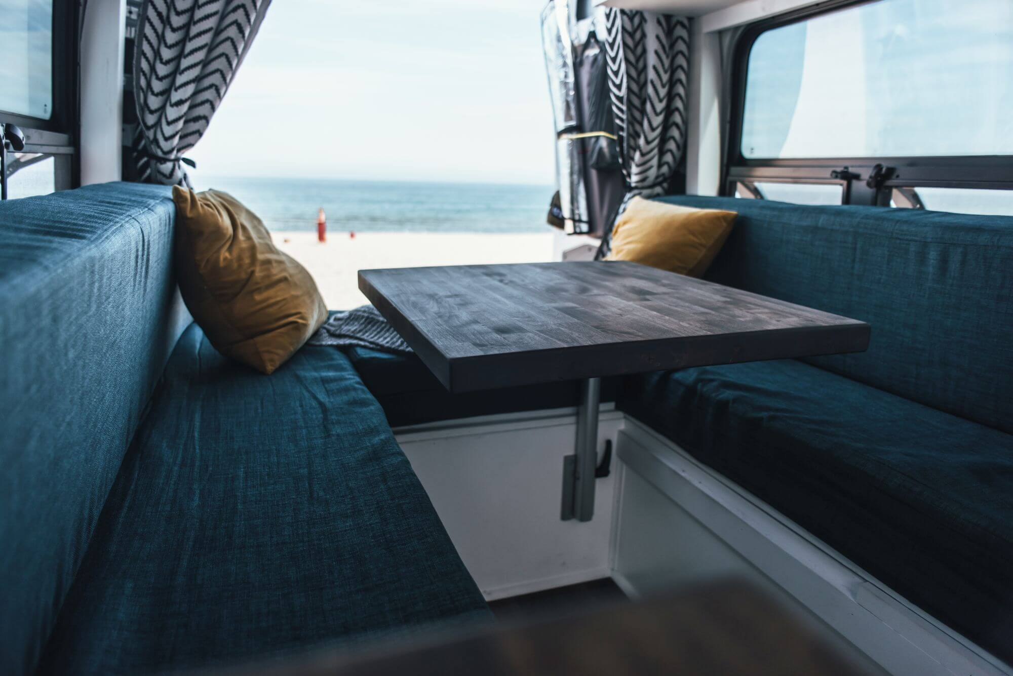 Beautiful views from travel van featuring wooden surfaces finished with Rubio Monocoat.