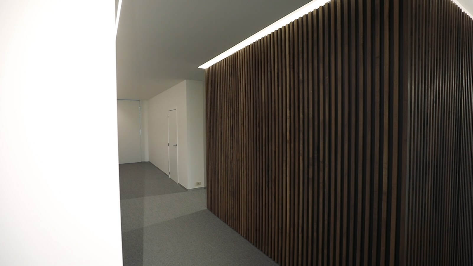 Hardwax oil wood finish on office divieres.