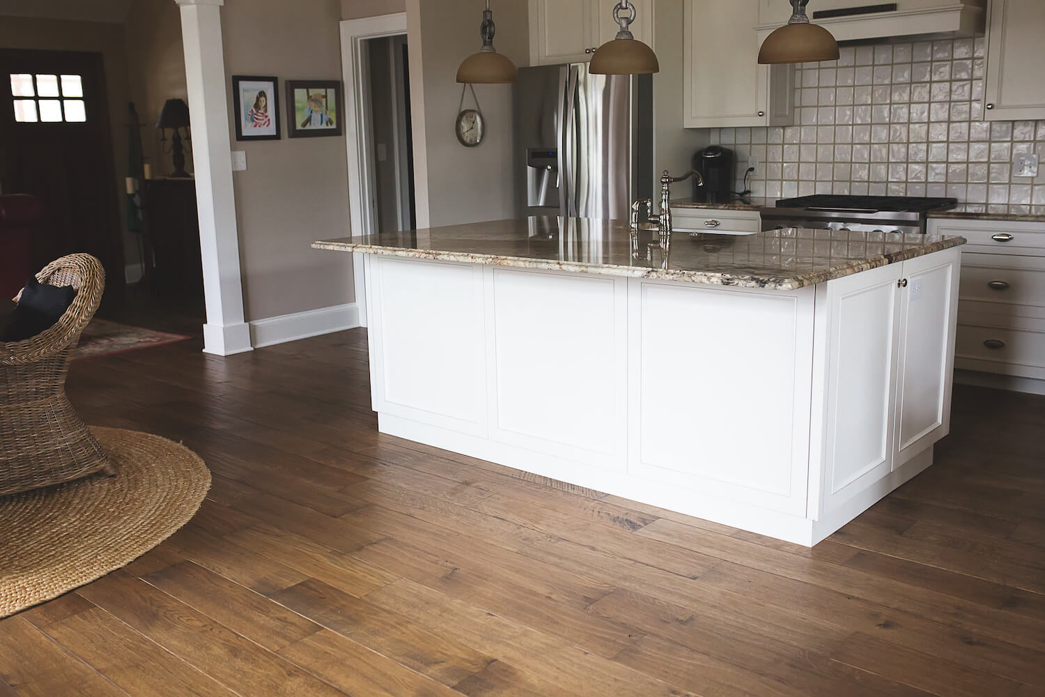 Kitchen features white oak floor finished with Rubio Monocoat.
