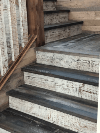 Rustic wood stairs finished with a 2 step oil process.