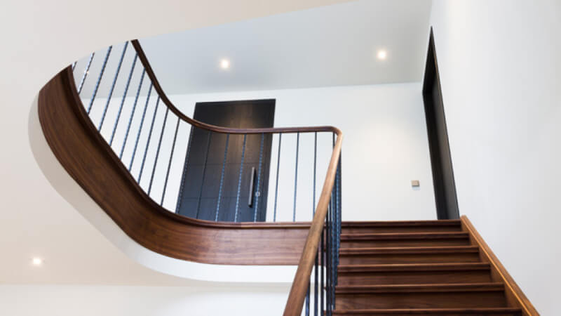 Beautiful wooden stair case finished with Rubio Monocoat.