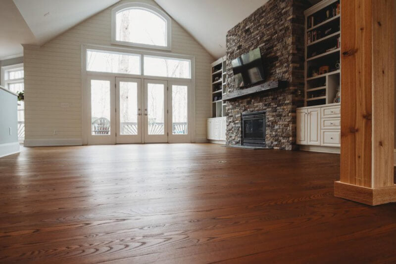 Living room with ash wood flooring finished with Rubio Monocoat products.