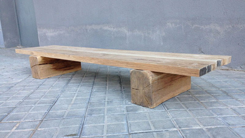 An oak bench finished with Rubio Monocoat wood finish.