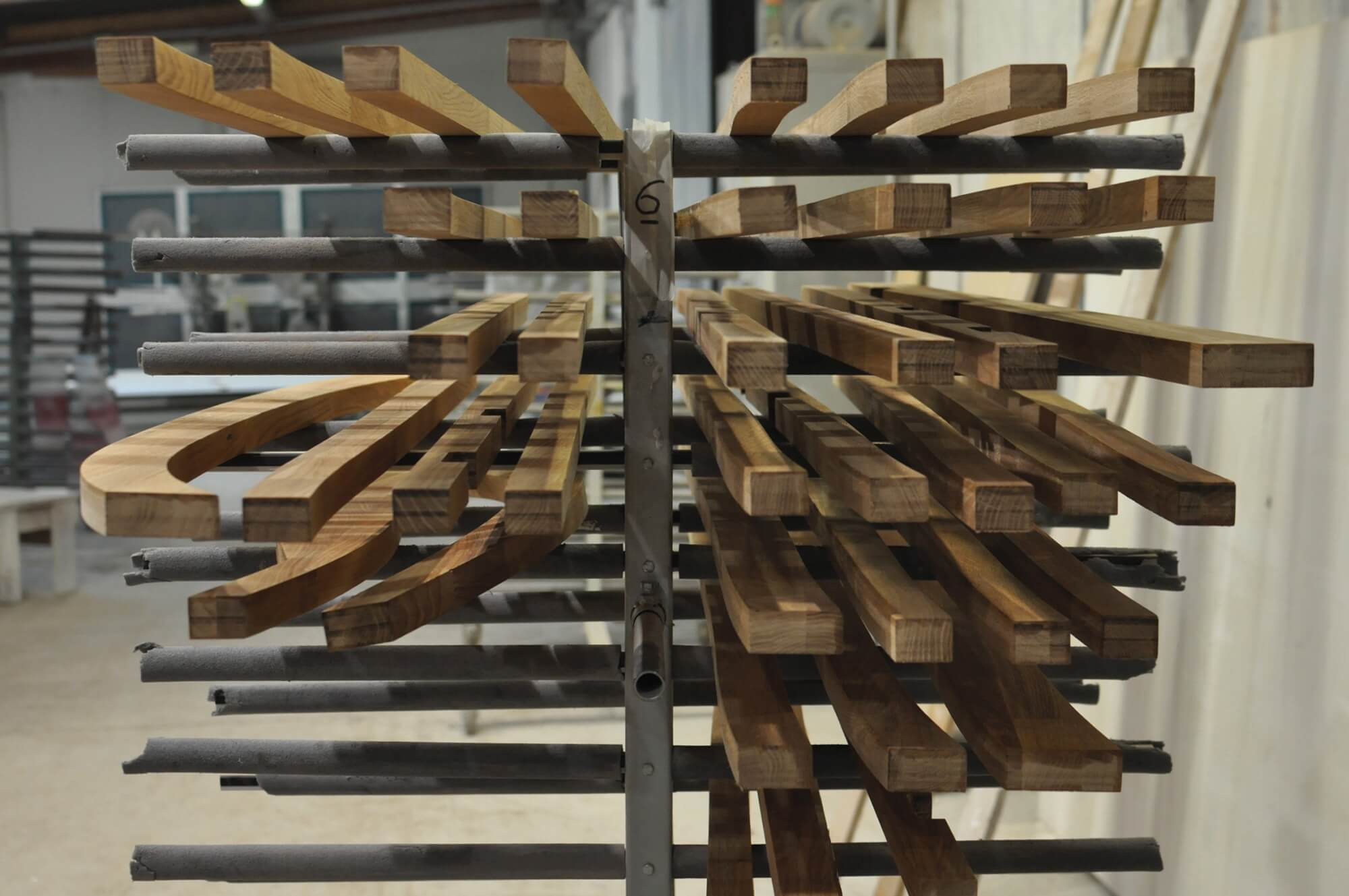 Wood on a drying rack.