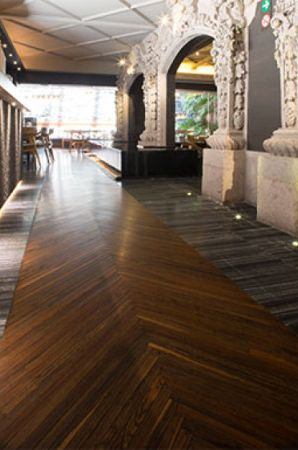 Beautiful walk way in Mexican restaurant features wood finished with Rubio Monocoat.