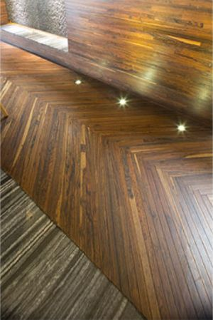 Wonderful chevron wooden floors finished with a 0%VOC hardwax oil.