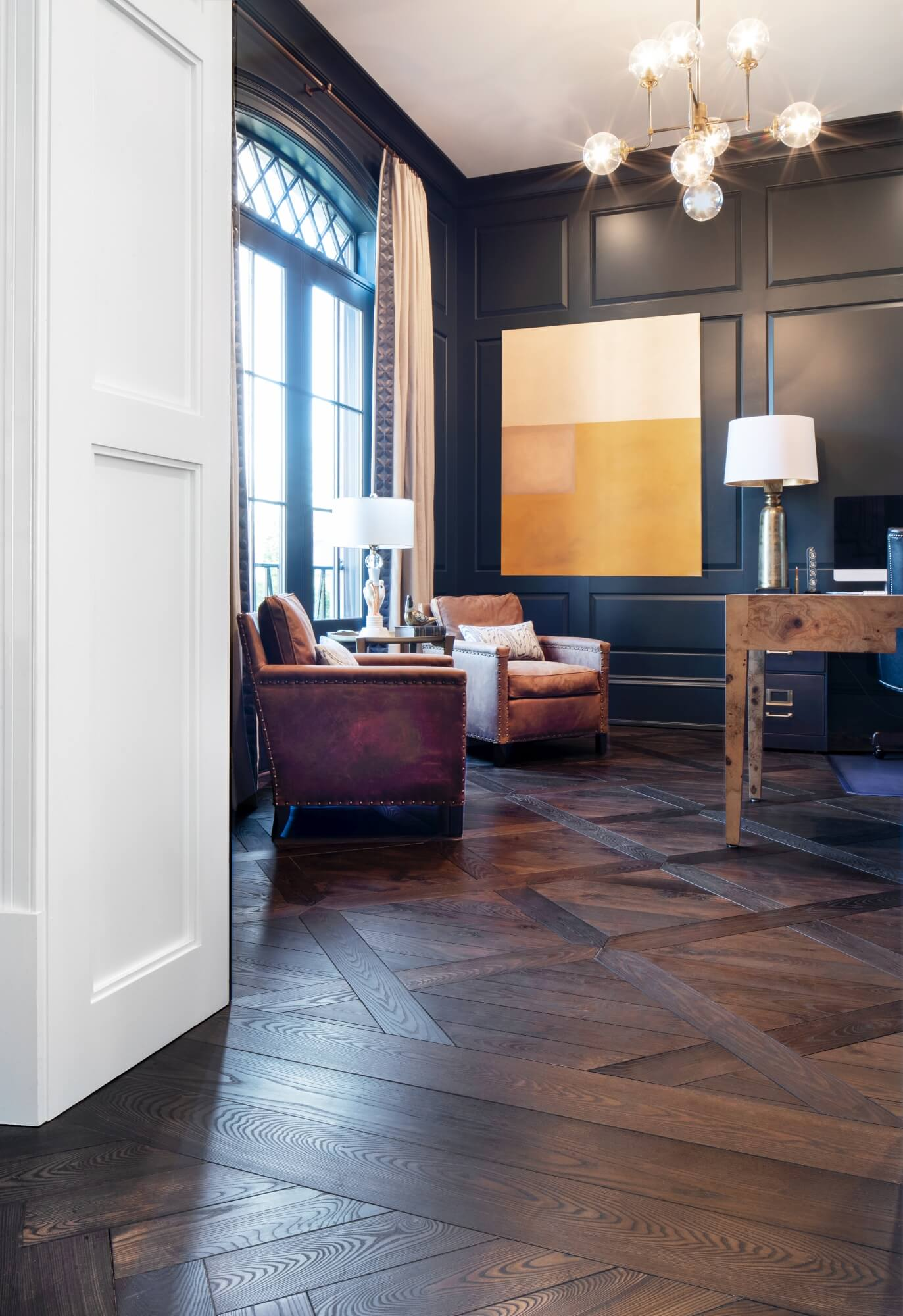 Office with parquet flooring that won NWFA Wood Floor of the Year in 2019.