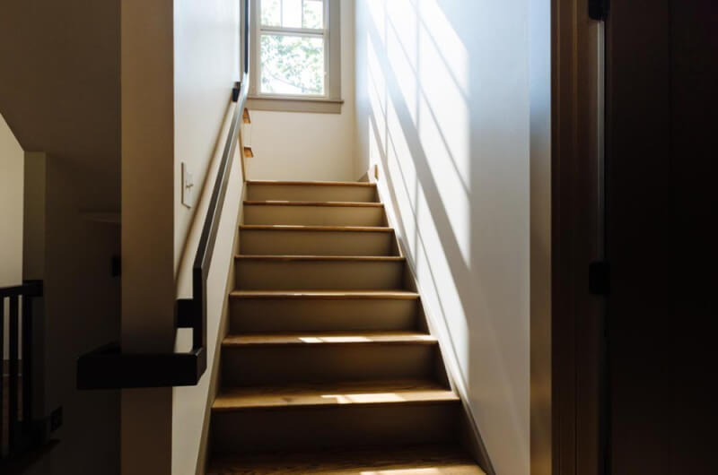 Wood stairway finished with Rubio Monocoat's hardwax oil.