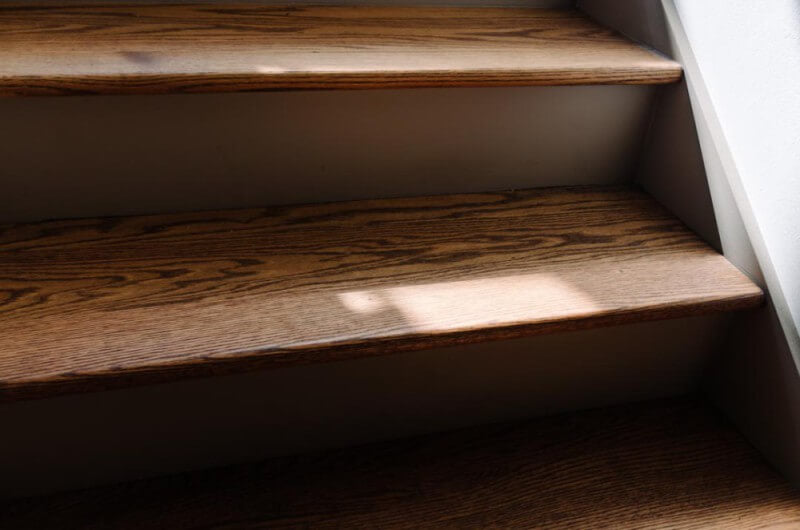 Beautiful grain in red oak stairs brought to life with Rubio Monocoat products.