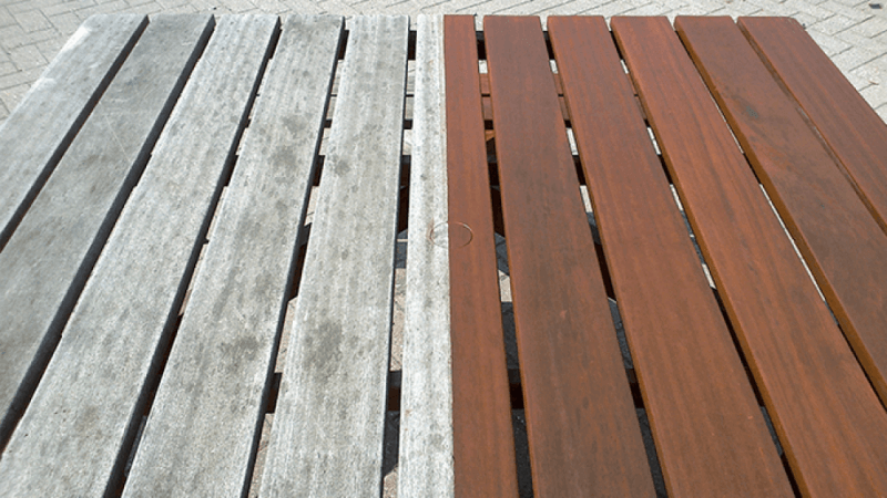 Rubio Monocoat used to finish wooden picnic table.