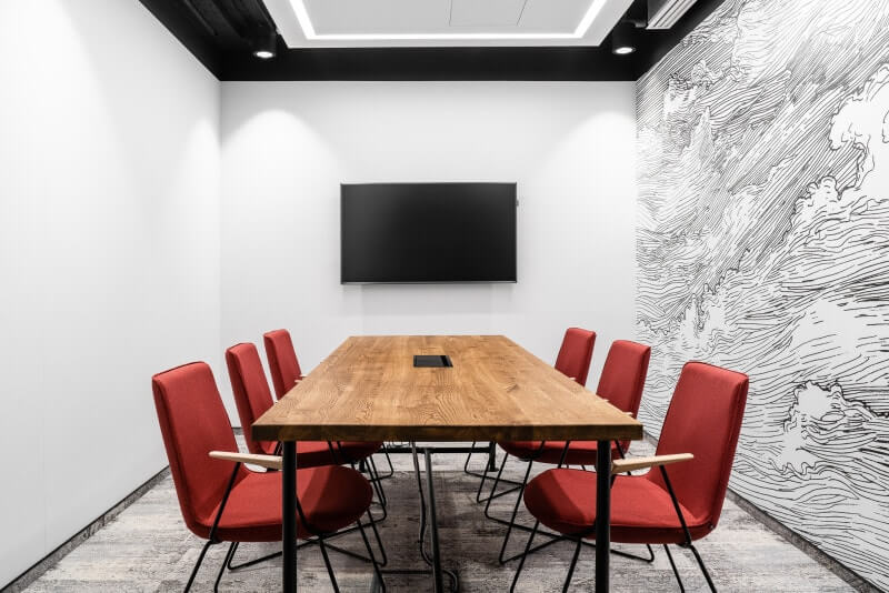 Conference room in design office features wooden conference table finished with Rubio Monocoat hardwax oil.