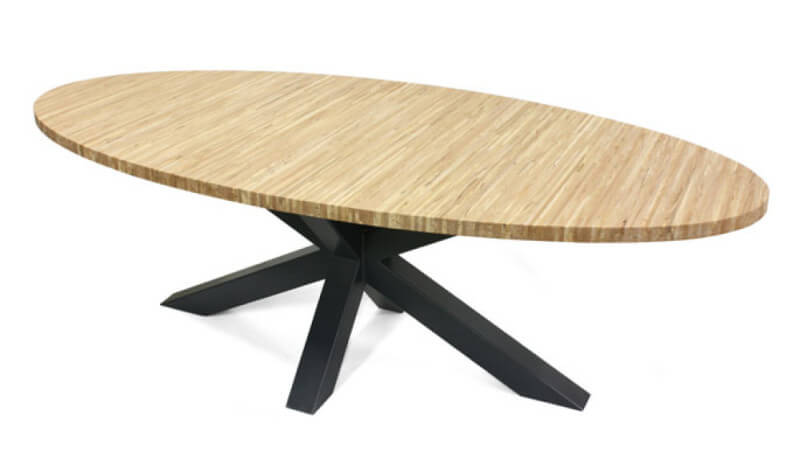 A beech table finished with Rubio Monocoat Oil Plus 2C hardwax oil wood finish.