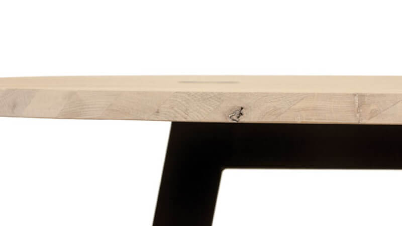A side profile of a beech table finished with Rubio Monocoat hardwax oil wood finish.
