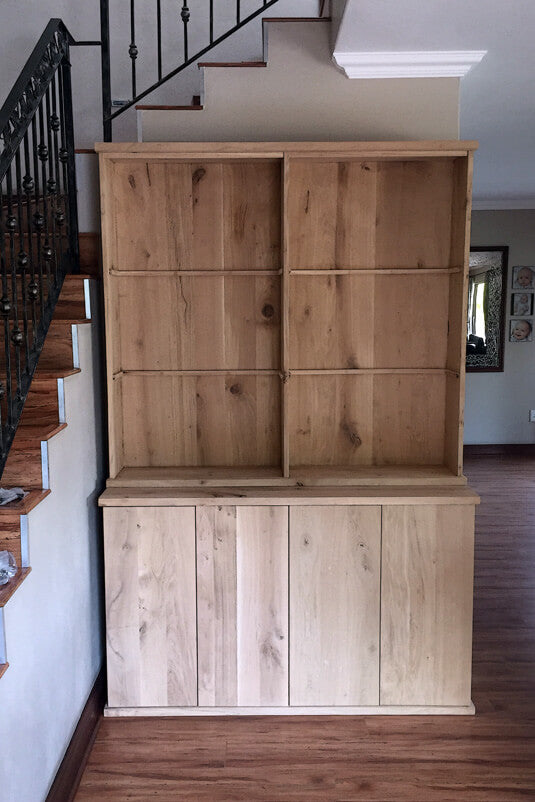 Wooden whiskey cabinet finished with Rubio Monocoat Oil Plus 2C.