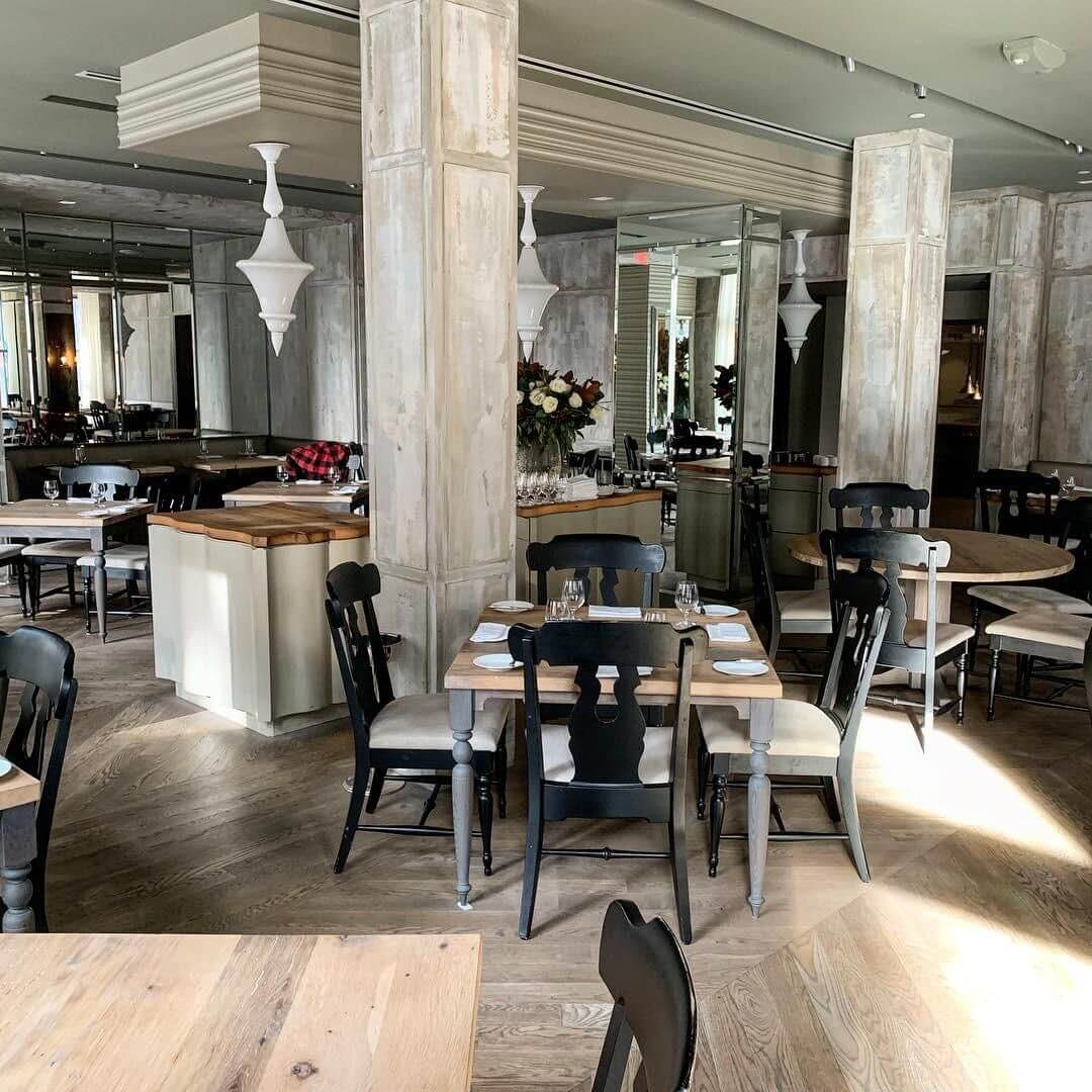 Restaurant boasts white oak tables finished with Rubio Monocoat.