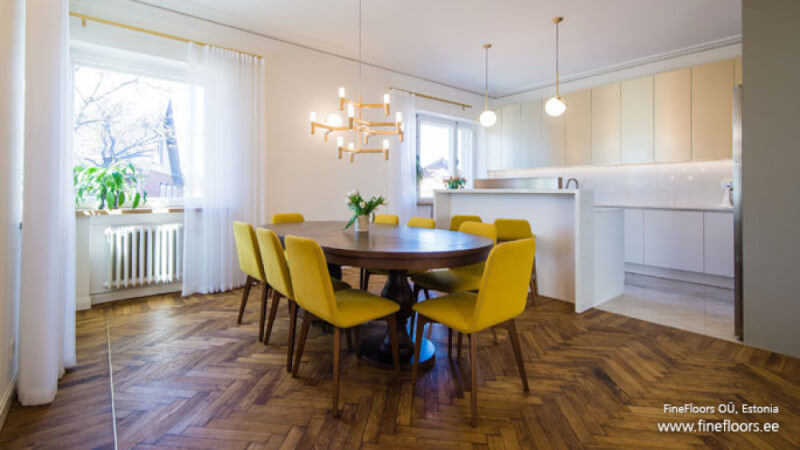 Beautiful dining room featuring wooden floors finished with Rubio Monocoat.