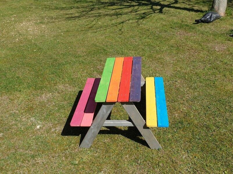 Rubio Monocoat Hybrid Wood Protector used to finish wood on multi colored kids picnic bench.
