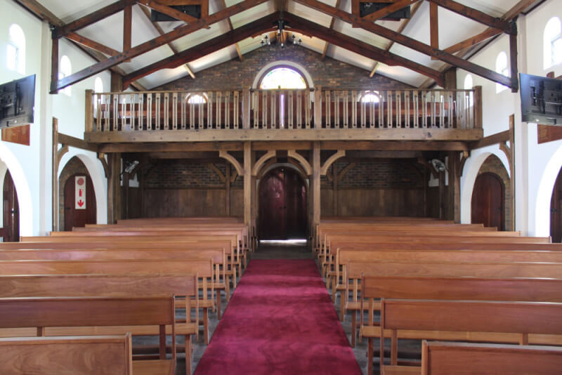 Church balcony and pews refurbished with wood oil.