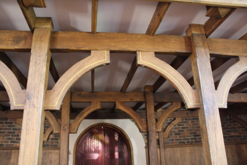Wooden architectural details in a church.