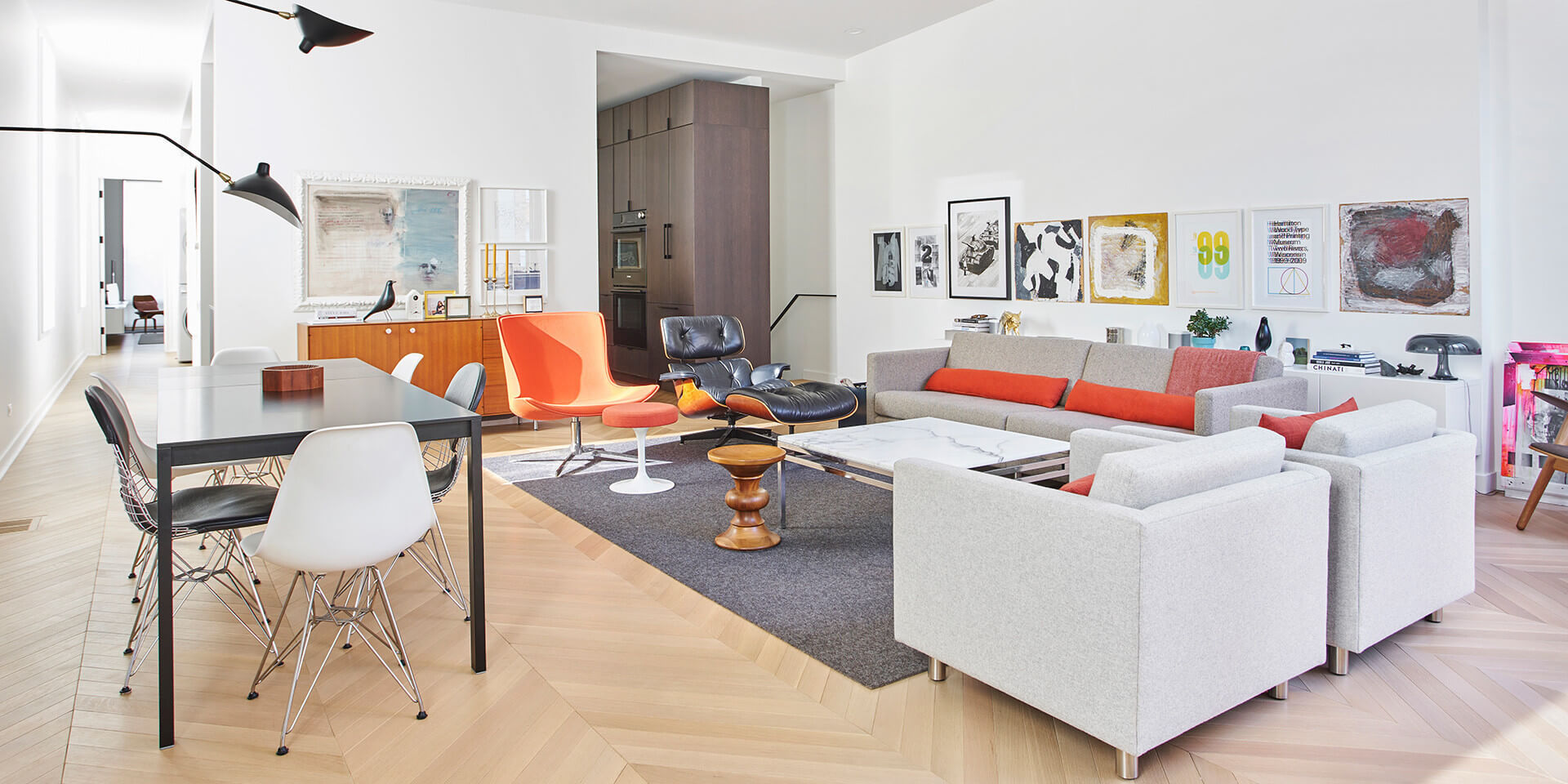 Beautiful apartment interior features wooden floors finished with Rubio Monocoat.