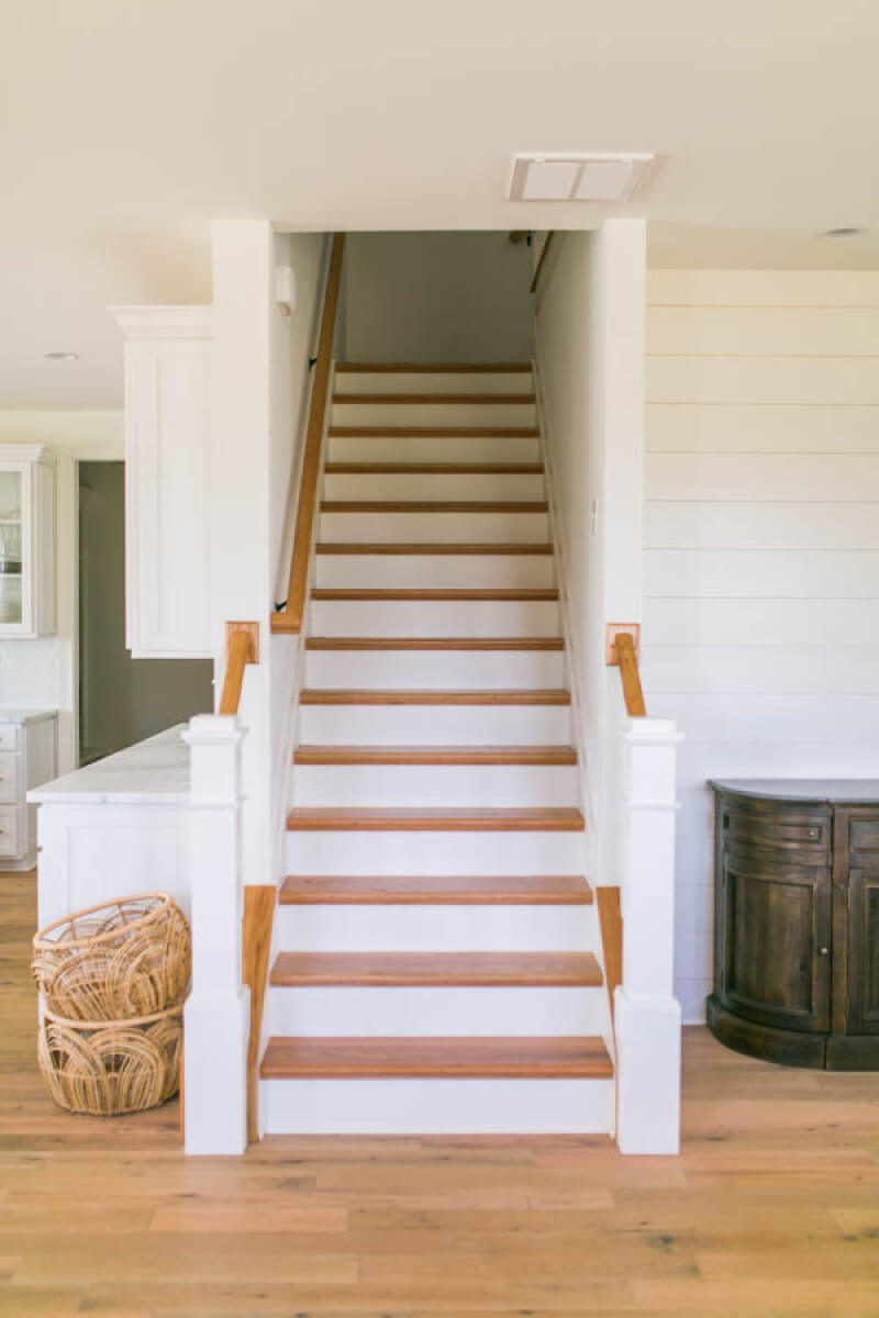 Wooden stair case finished with Rubio Monocoat products.