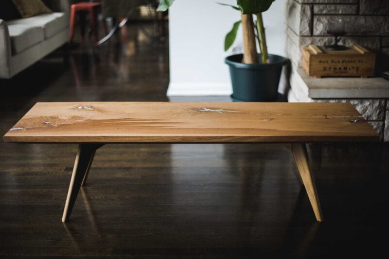 Solid wood oak coffee table finished with Rubio Monocoat Oil Plus 2C hardwax oil wood finish.