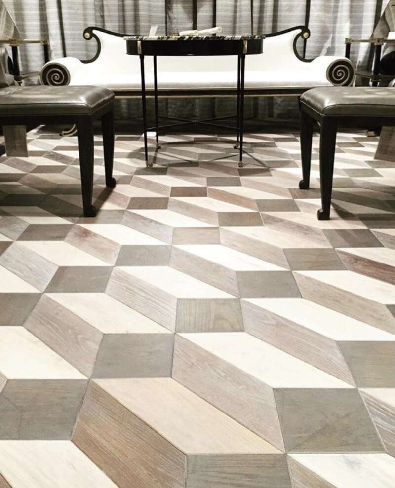 A showroom with flooring design from Jamie Beckwith Collection.