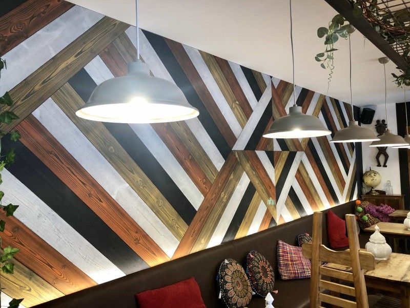 Unique wooden wall design finished with Rubio Monocoat Oil Plus 2C.
