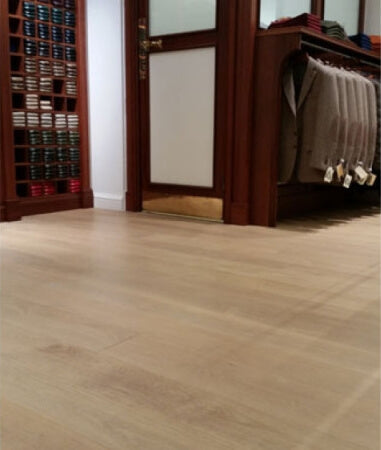 A natural colored hardwood floor.