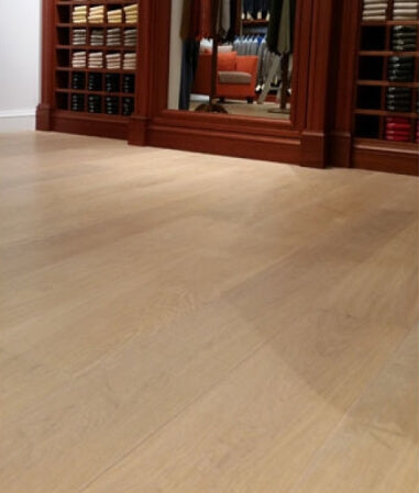 A natural hardwood flooring finish.