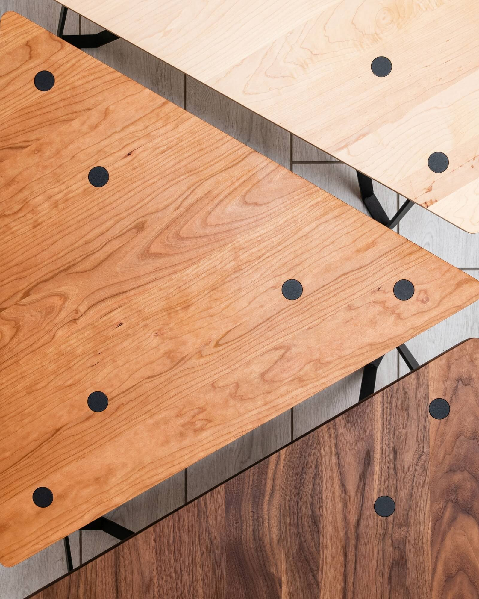 Geometric wood bench or coffee table made from various wood species.