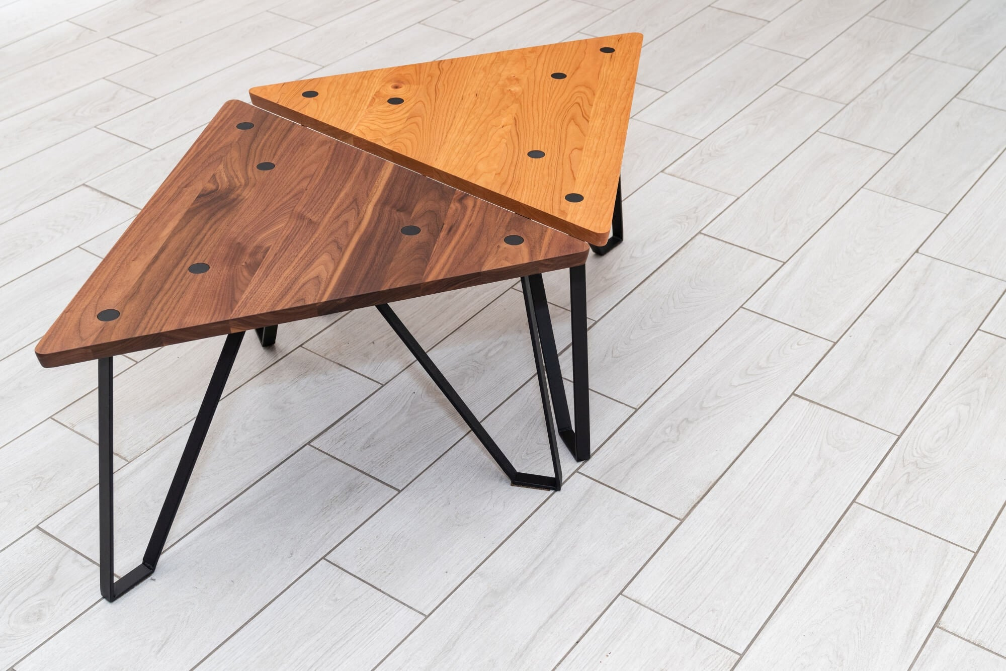 Geometric wood benches.