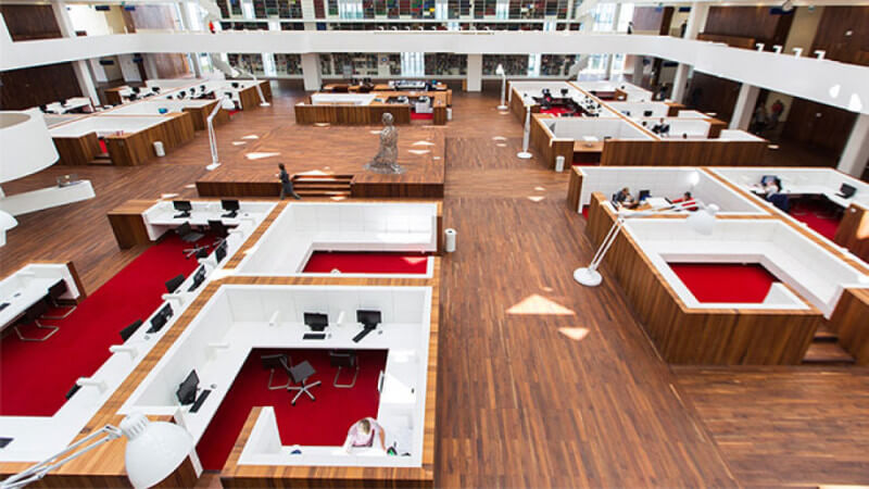 Overview of Erasmus University study hall featuring walnut finished with Rubio Monocoat Oil Plus 2C.