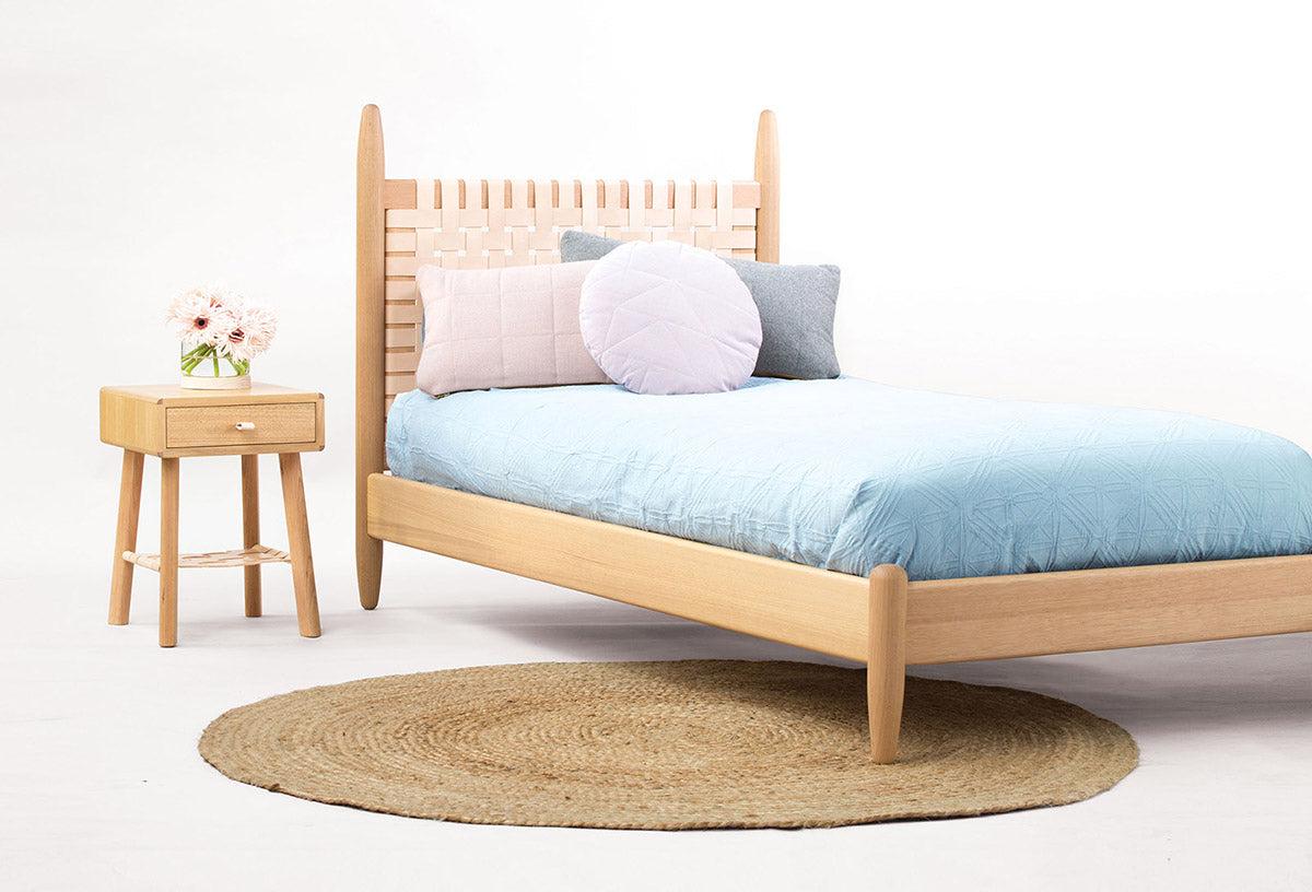 Bedroom set collection made out of oak wood with natural matte finish on it.