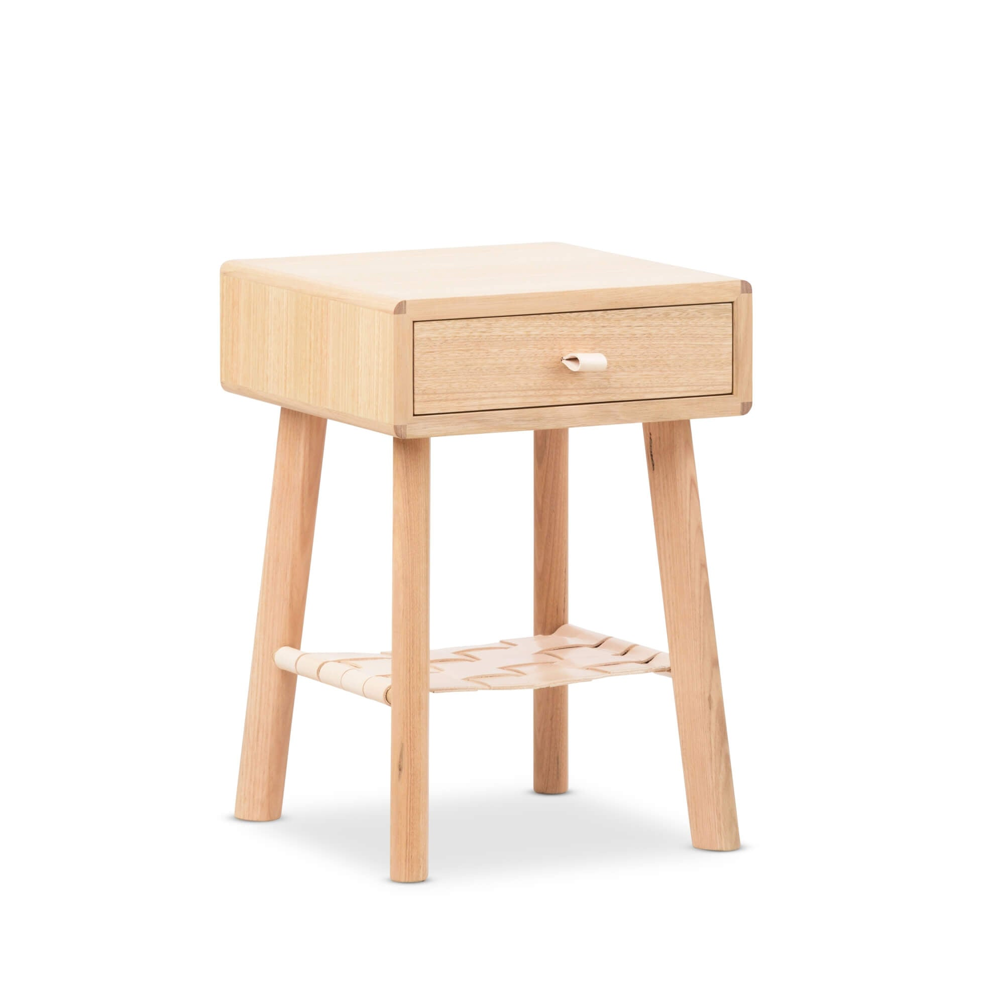 Nightstand made from natural non-yellow oak wood.