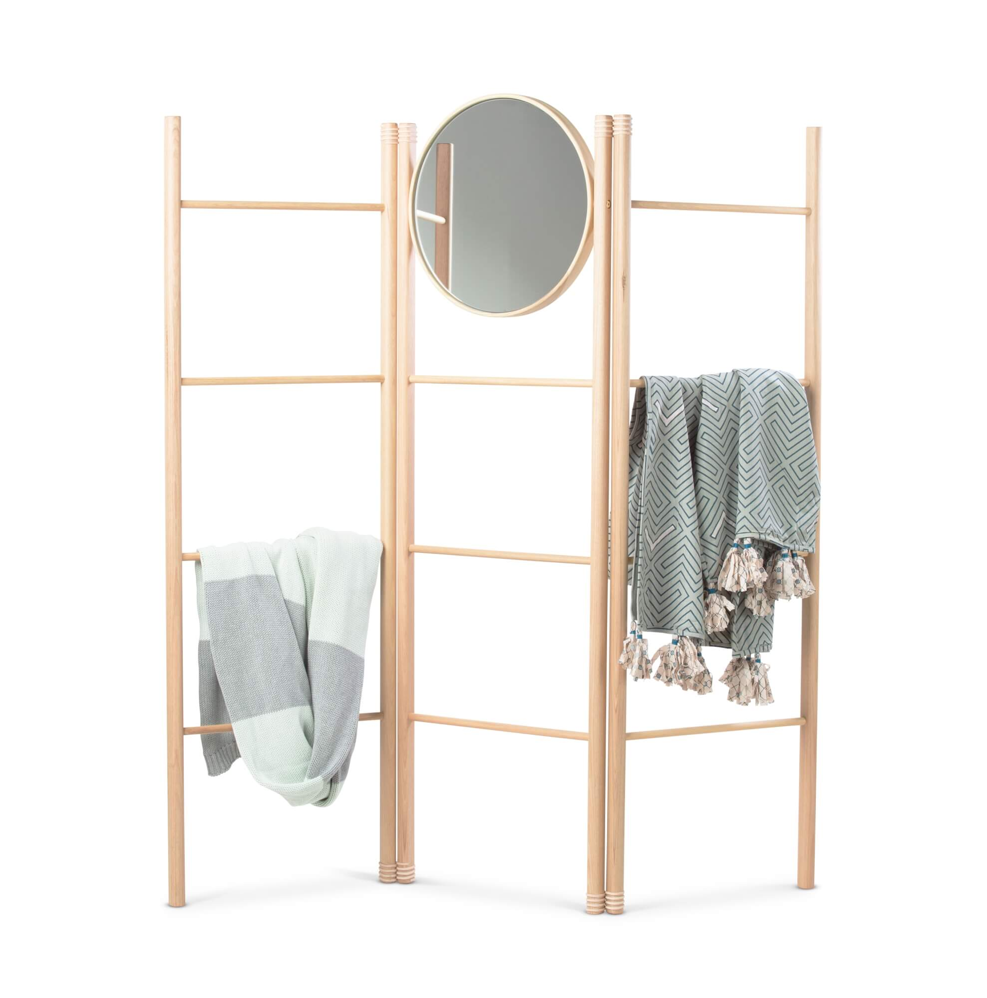 Wooden clothing accessory rack.