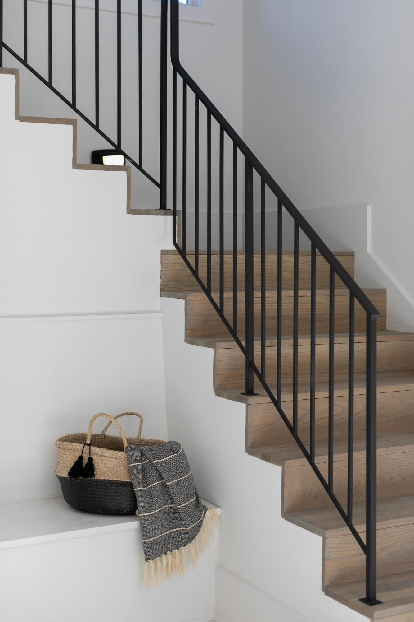 Oak stair treads and white flat modern design.