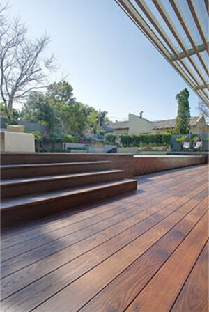 A wooden deck finished with eco-friendly hardwax oil wood finish.